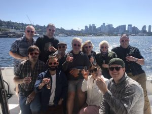 Worktank team kicks off cruise with toast to downtown Seattle