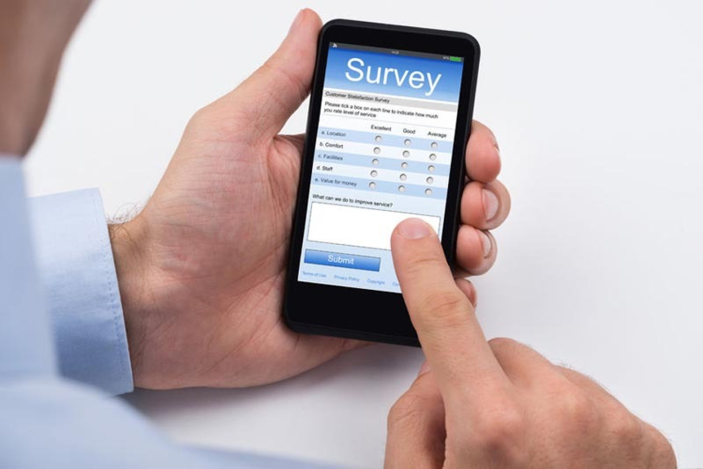 45165784 - close-up of person filling online survey form on mobile phone