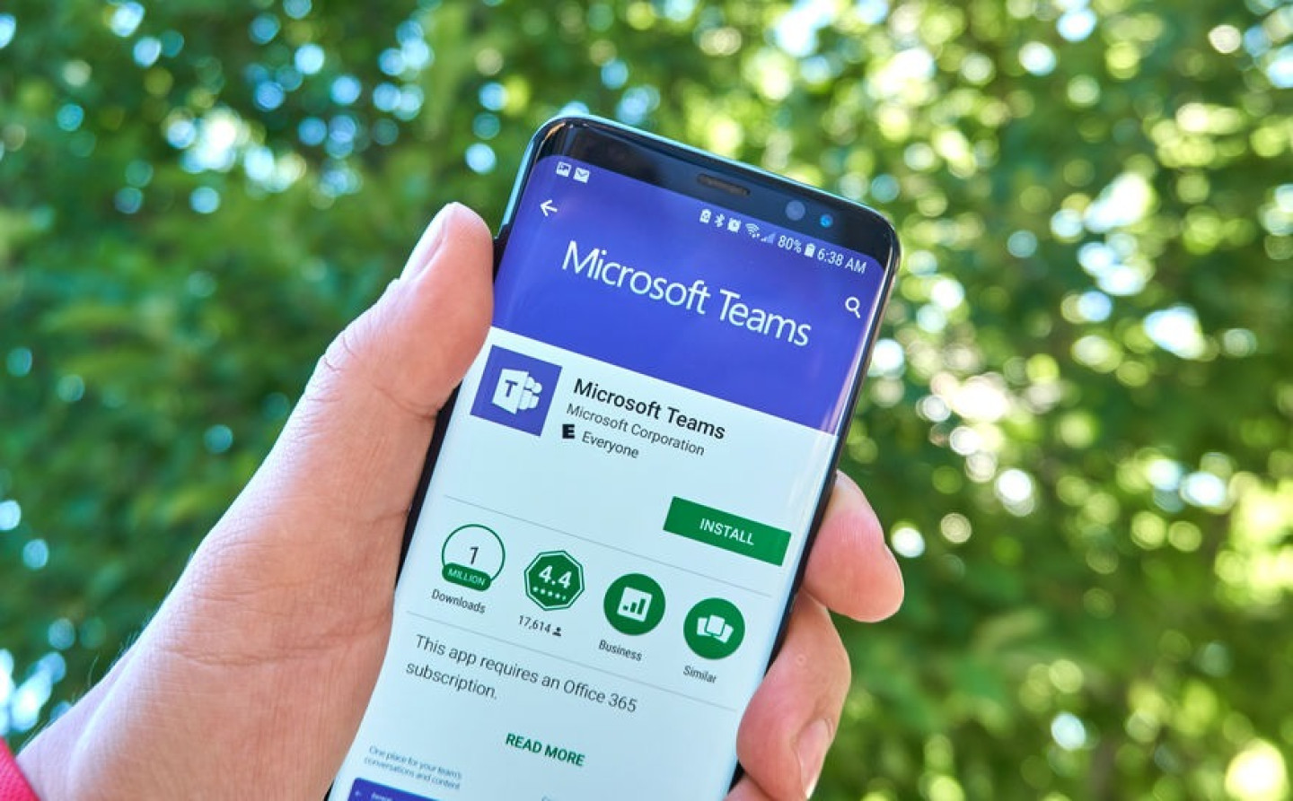 Microsoft Teams mobile app on Samsung s8.