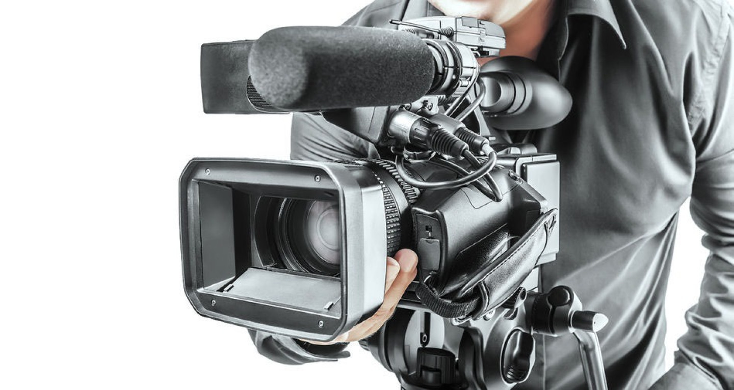 34087709 - video operator isolated on a white background