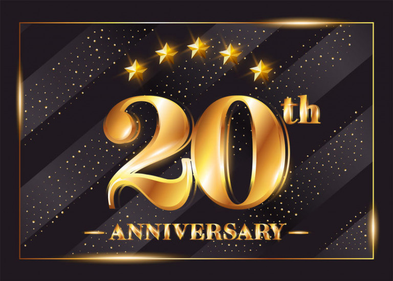 20 Years Anniversary Celebration Vector Logo. 20th Anniversary G